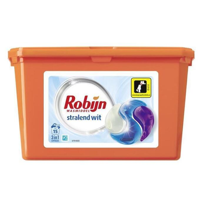 Robijn 3-in-1 capsules stralend wit (15 × 405g)