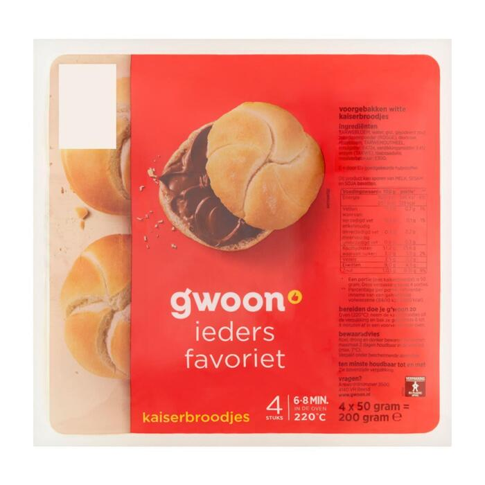 g'woon Kaiserbroodjes (4 × 50g)