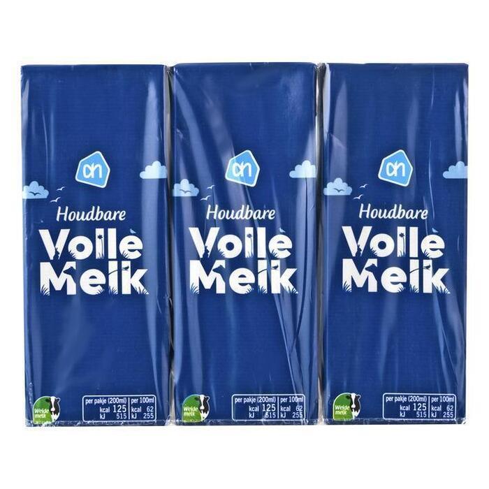 AH Volle melk houdbaar (6 × 200ml)