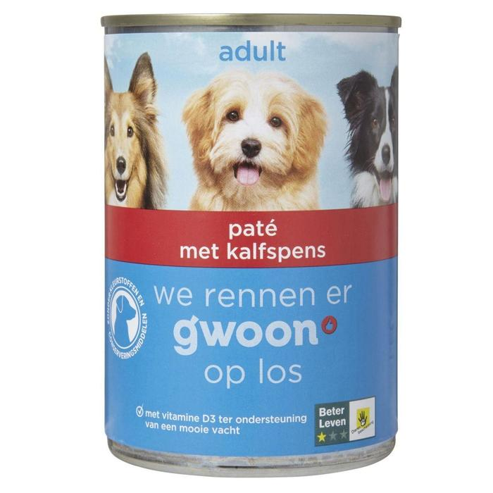 g'woon Hondenvoer adult paté met kalfspens (400g)