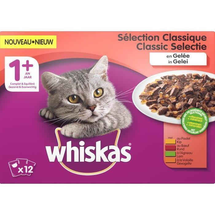 Whiskas Kattenvoer nat classic in gelei 1+ jaar (12 × 1.2kg)
