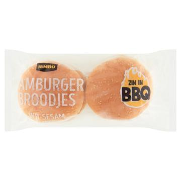 Jumbo - Witte Sesam Hamburgerbroodjes - 4 Stuks