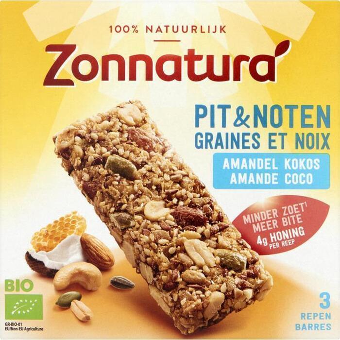 Zonnatura Pit & Notenreep Amandel Kokos 3 x 25g (3 × 75g)