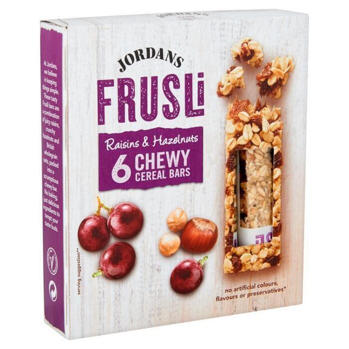 Jordans Frusli Raisins & Hazelnuts Chewy Cereal Bars 6 x 30g (6 × 30g)