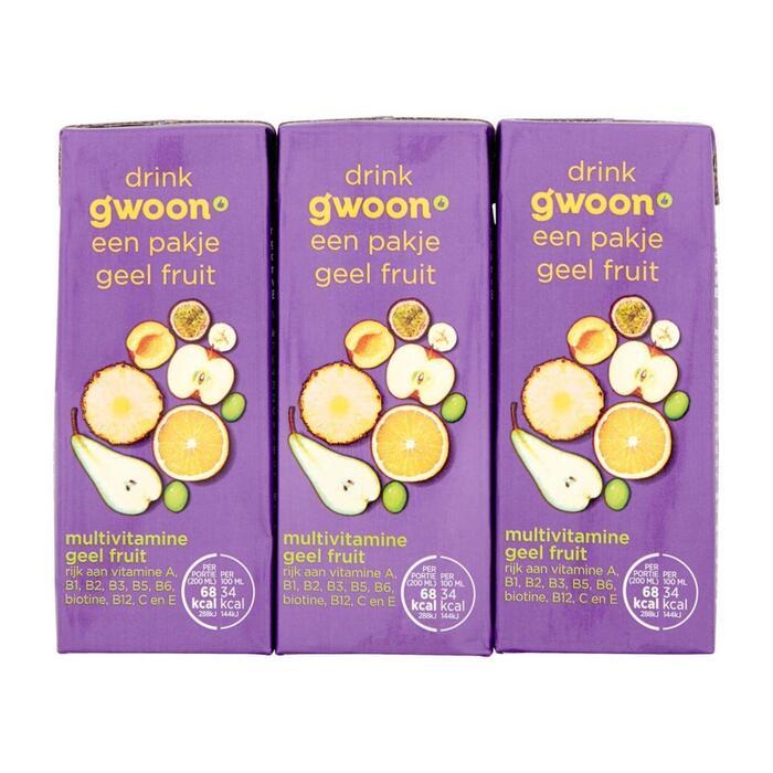 g'woon Multivitamine geel fruit pak 6 x 20 cl (6 × 200ml)