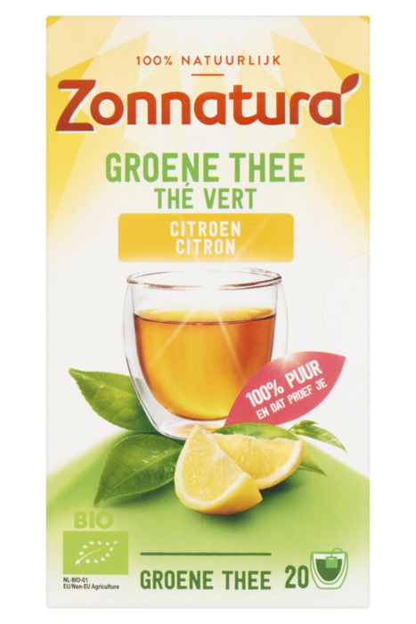 Zonnatura Groene Thee Citroen 20 Zakjes 30 g (20 × 1.5g)
