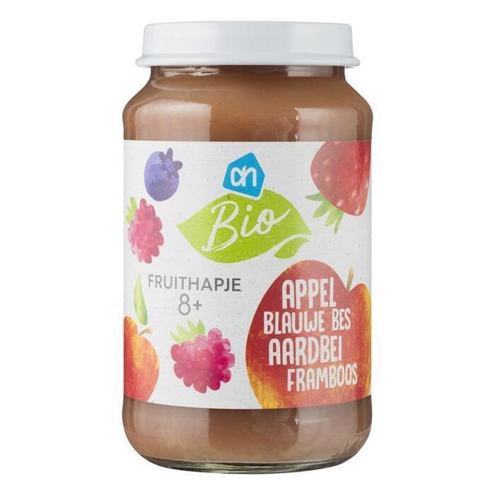 AH Biologisch Fruithapje appel-aardbei framboos-bes 8m (200g)