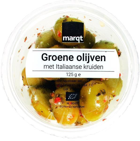 Groene olijven Italiaanse kruiden (125g)