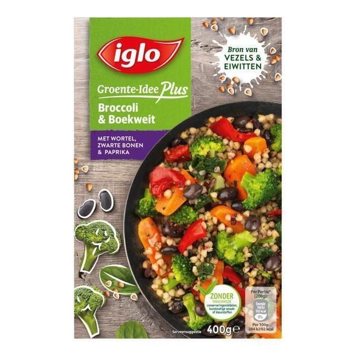Iglo Groente-Idee Plus Broccoli & Boekweit met Wortel, Zwarte Bonen & Paprika 400 g (400g)