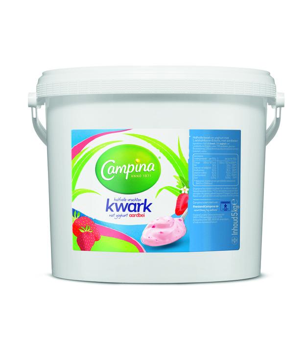 Campina kwark halfvol vruchten, yoghurt aardbei 5 kg emmer (5kg)