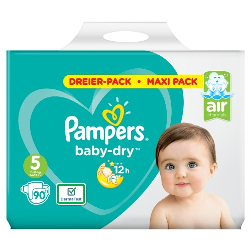 Pampers Baby-Dry Maat 5, 90 Luiers, Voor Droge Ademende Huid