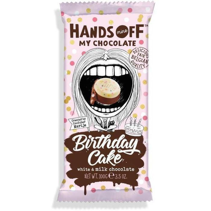 Hands Off Birthday cake milk chocolate (100g)