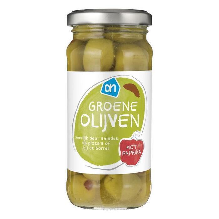 AH Groene olijven met piment (240g)