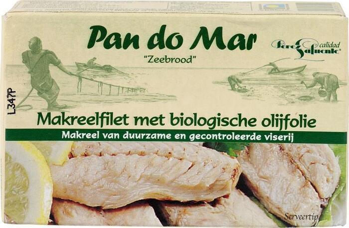 Pandomar makreelfilet met biologische olijfolie, (blik, 120g)