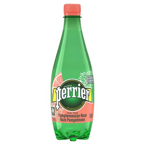 PERRIER®Bruisend Natuurlijk Mineraalwater Gearomatiseerd met Roze Pompelmoes Fles 0,50 L (0.5L)