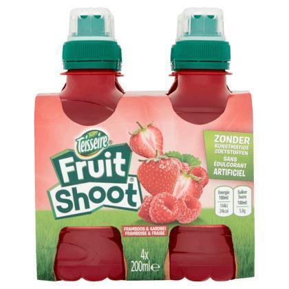 Teisseire Fruit shoot aardbei framboos fles 4 x 20 cl (4 × 0.8L)