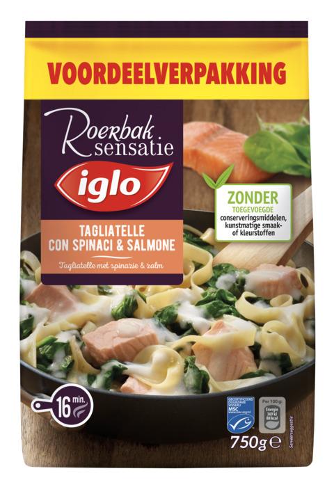 IGLO diepvries MAALTIJDEN Tagliatelle met spinazie en zalm 750 GRM zak (750g)