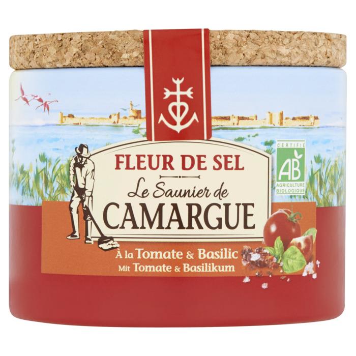 Fleur de Sel de Camargue met tomaat en basilicum - kostbare bloemblaadjes van zout, met de hand geoogst door de zoutzieders - vervolmaakt de smaak van gerechten (125g)