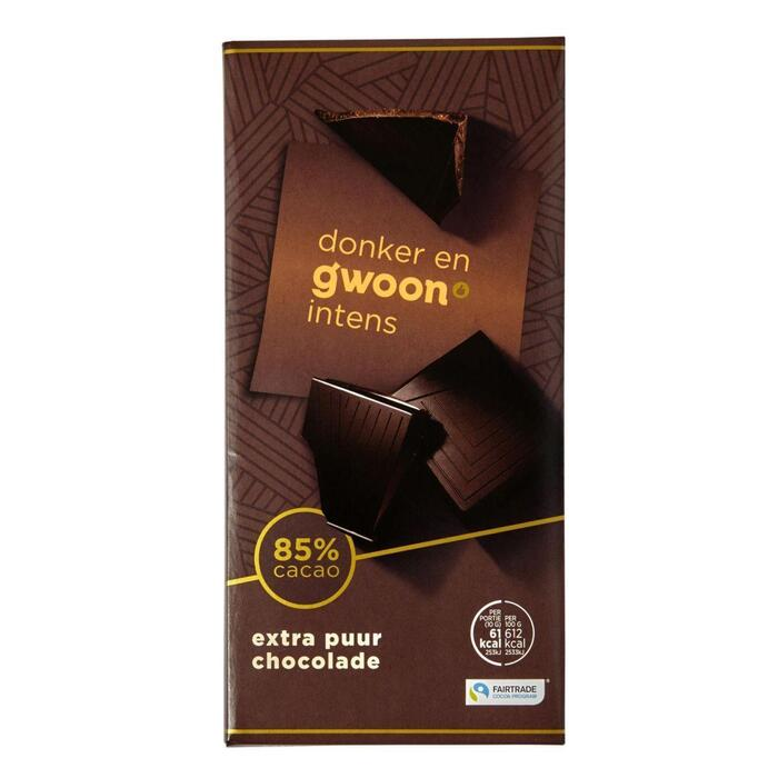 g'woon Chocoladereep extra puur 85% (100g)
