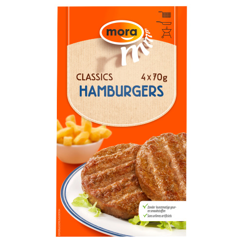 Hamburgers (doos, 4 stuks) (Stuk, 70g)
