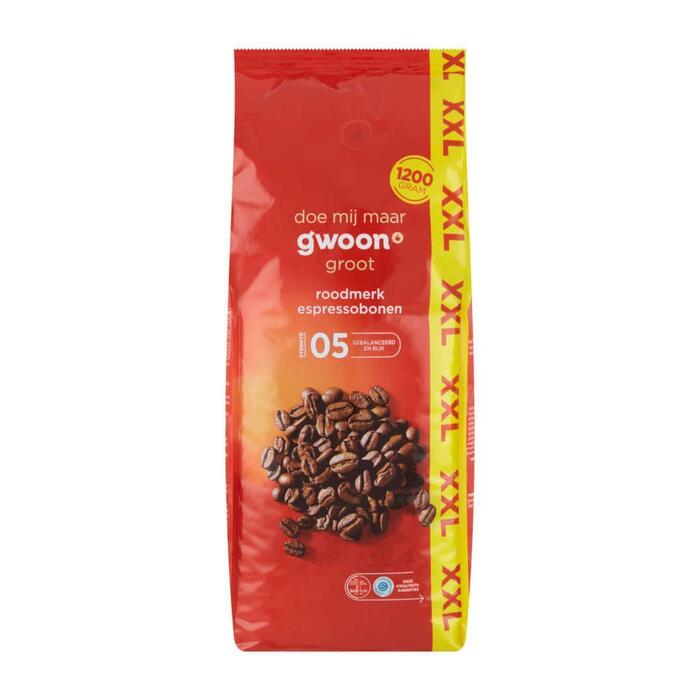 g'woon Koffie rood XXL espressobonen (1.2kg)