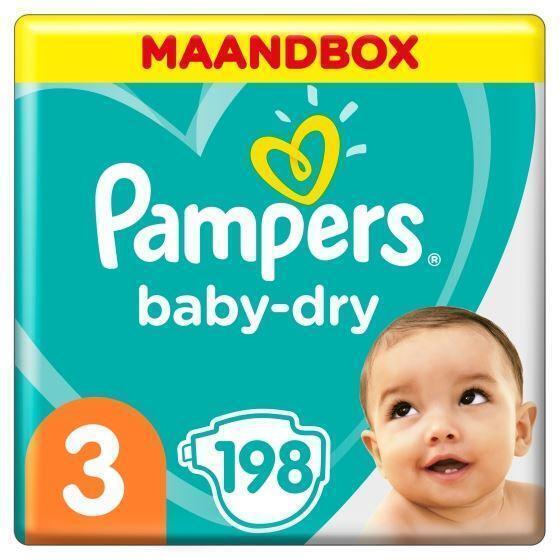 Pampers Baby-Dry Maat 3, 5-9 kg, x198 Luiers, Maandbox