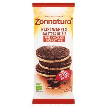 Zonnatura Belgische Pure Chocolade Rijstwafels 2 x 3 Stuks (Stuk, 6 × 100g)