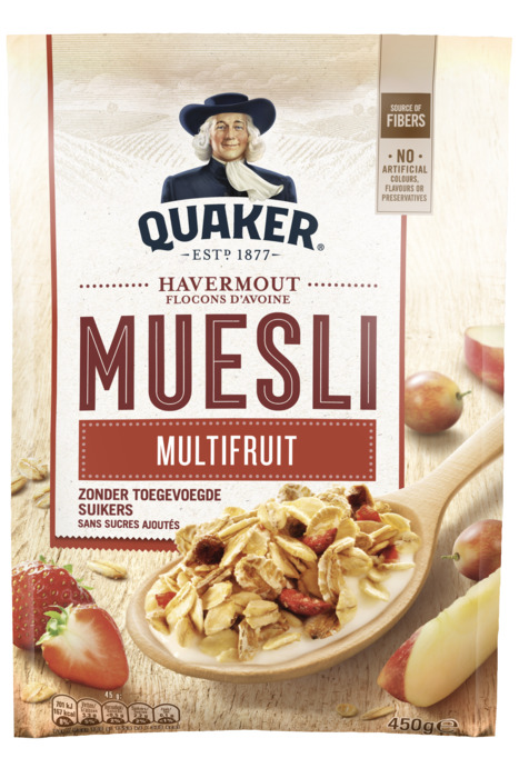 Quaker Havermout muesli multifruit (zak, 450g)