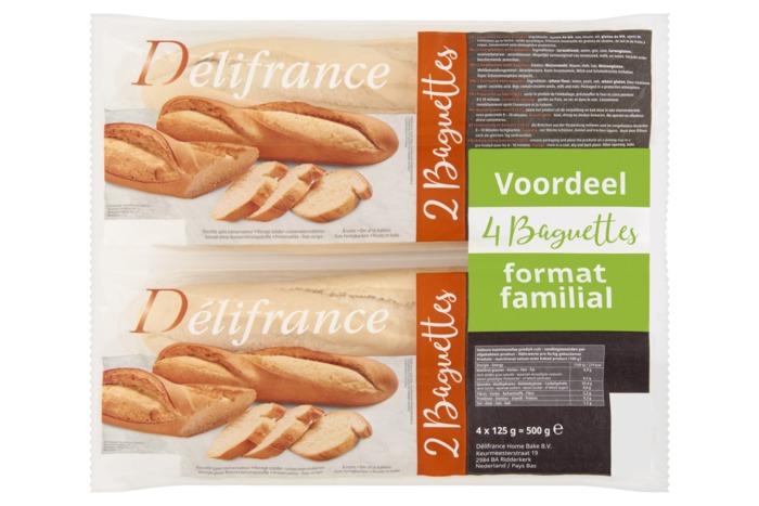 Délifrance Witte Baguettes Voordeelverpakking 4 x 125g (4 × 125g)