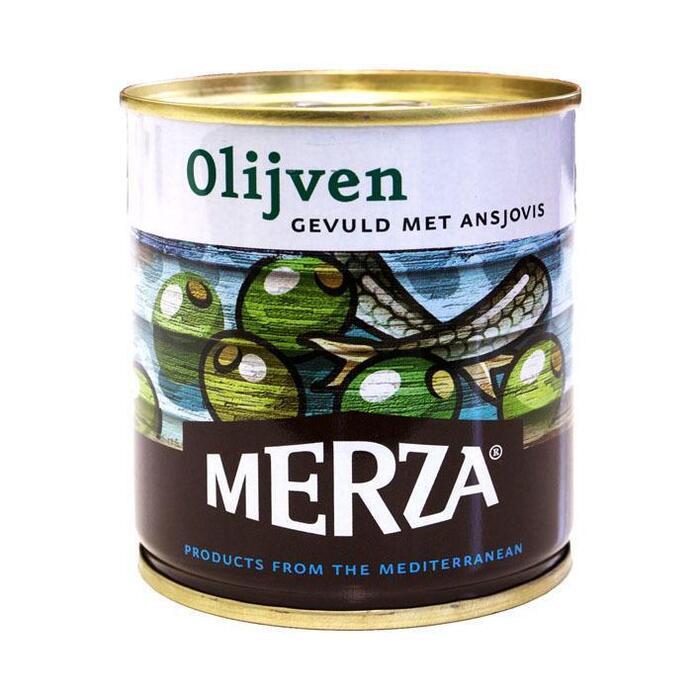 Merza Groene olijven gevuld met ansjovis (200g)