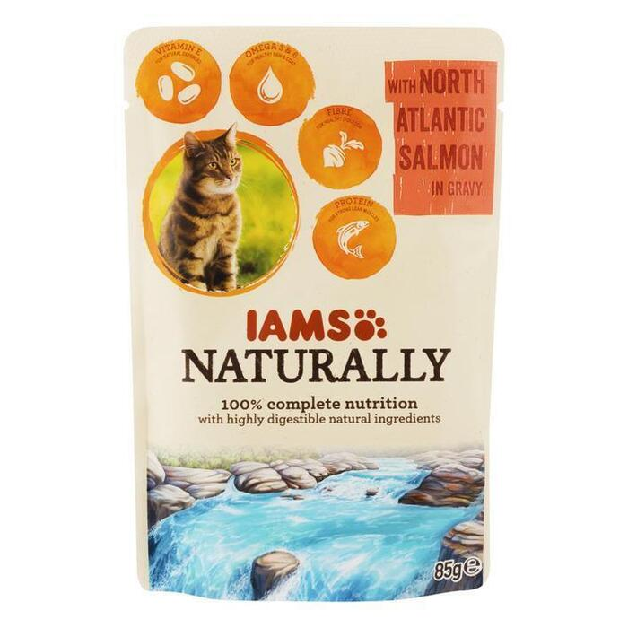 IAMS Naturally cat adult zalm in jus (85g)