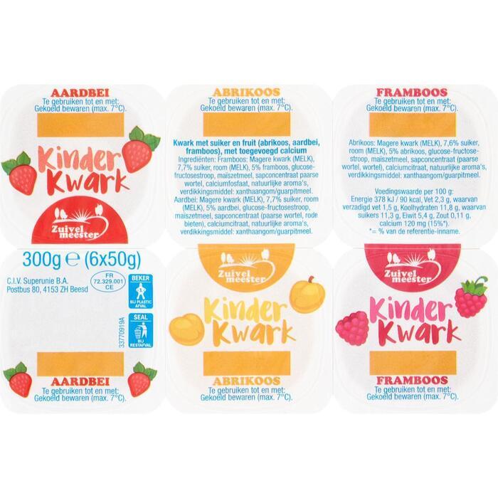 Kinderkwark aardbei-abrikoos-framboos 6 st (300g)