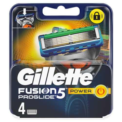 Gillette Fusion5 ProGlide Power Scheermesjes, 4 Navulmesjes