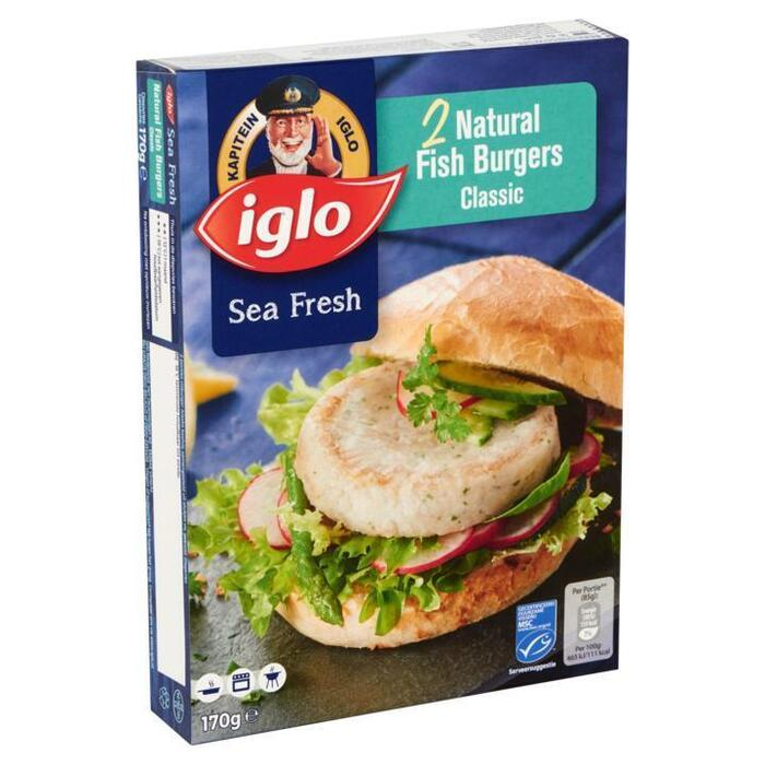 IGLO diepvries VIS Naturel Fish Burger Classic 170 GRM doos (2 × 170g)