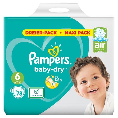 Pampers Baby-Dry Maat 6, 78 Luiers, Voor Droge Ademende Huid