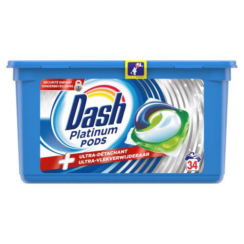 Dash Platinum Pods wascapsules, Met Ultra-vlekverwijderaar, 34 wasbeurten