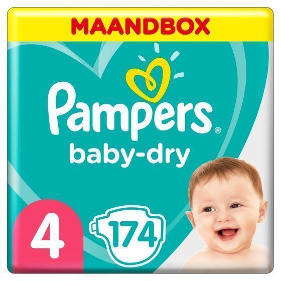 Pampers Baby-Dry Maat 4, 174 Luiers, Voor Droge Ademende Huid, Maandbox