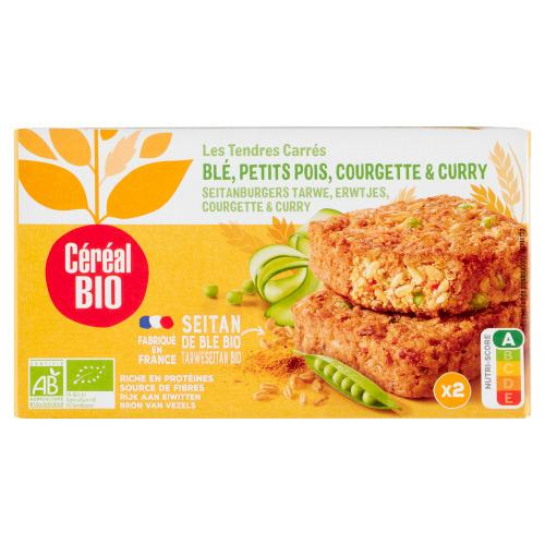 Céréal Bio Seitanburger met Erwtjes, Courgette & Curry 2 x 100 g (100g)