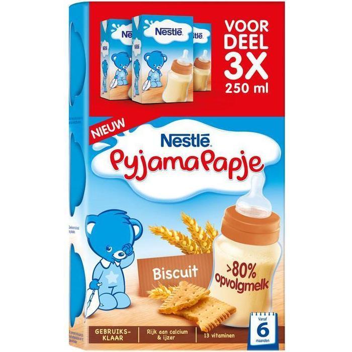Nestlé PyjamaPapje® Biscuit 3 x 250 ml (Stuk, 3 × 250ml)