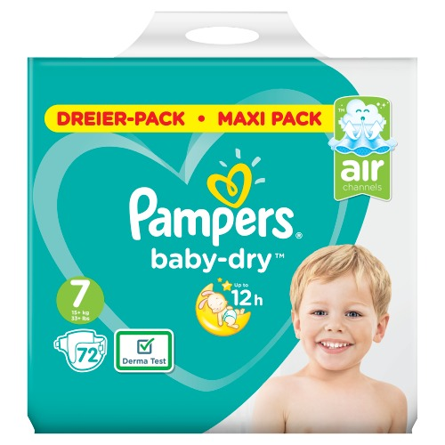 Pampers Baby-Dry Maat 7, 72 Luiers, Voor Droge Ademende Huid