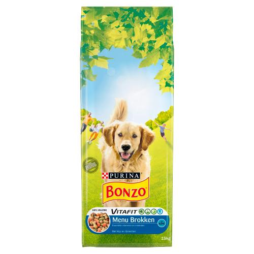Bonzo Vitafit Menu Brokken met Kip en Groenten 15 kg (15kg)