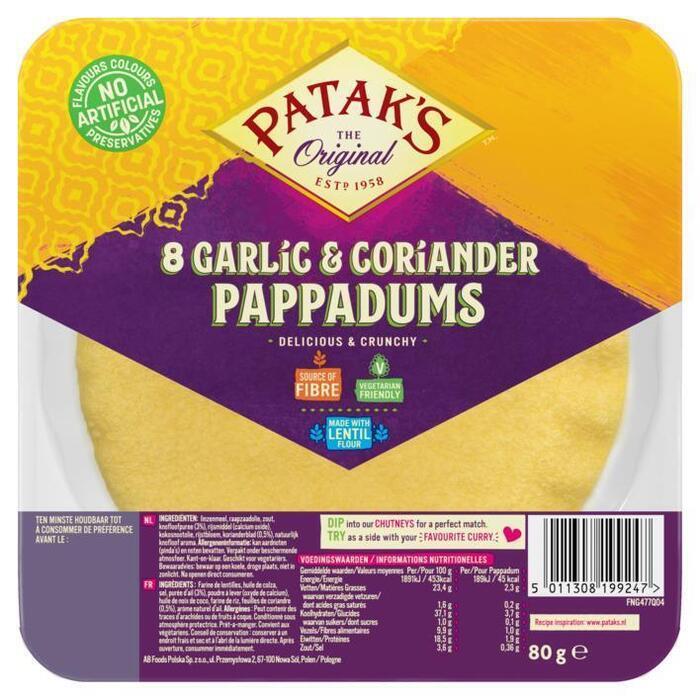 Patak's Pappadums garlic coriander kant en klaar (80g)