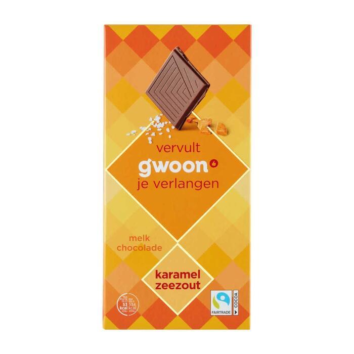 g'woon Chocoladereep karamel zeezout (100g)