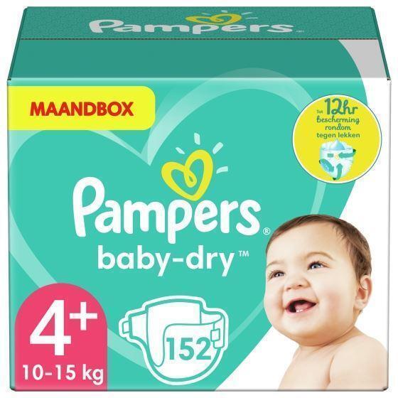 Pampers Baby-Dry Maat 4+, 152 Luiers, Droge Ademende Huid, Maandbox