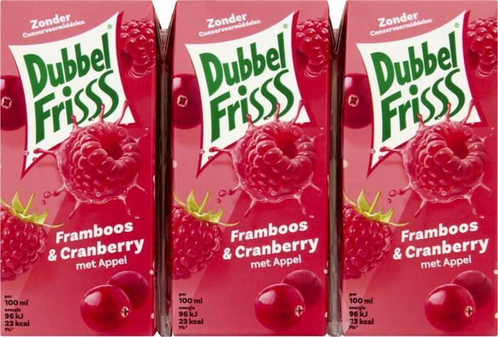 Dubbel Frisss Framboos & Cranberry (kartonnenpak, 6 × 1.2L)