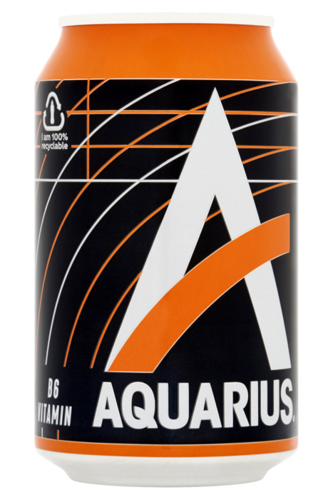 Aquarius Orange Blik 0.33L 1x (baal, 33 × 33cl)