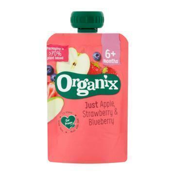 Organix Knijpfruit appel, aardbei & bosbes 6mnd (100g)