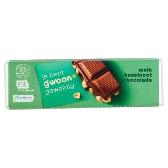g'woon Chocoladereep melk hazelnoot (100g)