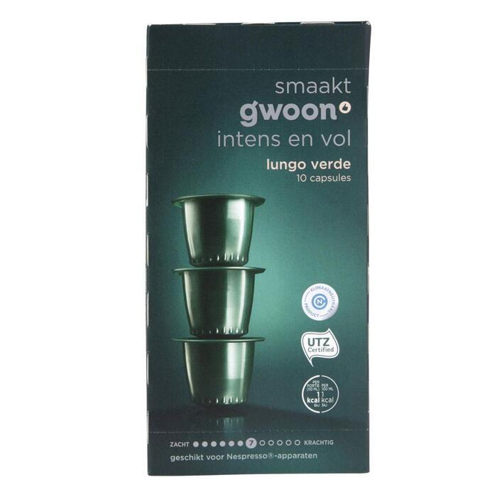 g'woon Lungo verde capsules sterkte 7 (10 × 5g)