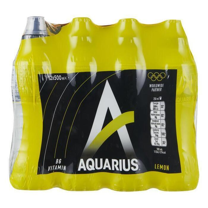 Aquarius Lemon met sportdop (12 × 0.5L)